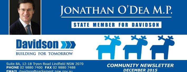 Jonathan O'Dea MP Christmas 2015 newsletter